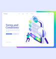 landing page terms and conditions vector image