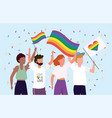 lgbt community together to celebrate parade vector image vector image