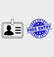 line person badge icon and scratched free vector image vector image