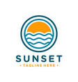 logo outline sunset on sea vector image vector image