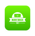 man bags icon green vector image