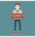 Man Holding Sorry Sign vector image vector image