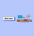 man lying couch watching tv living room rest zone vector image vector image