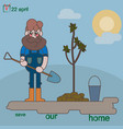 man plants a small tree vector image