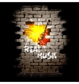 musical breakthrough in brick wall uno vector image vector image