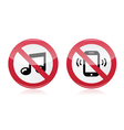 no music noise red warning sign vector image vector image
