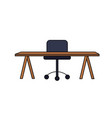 office wood desk with chair design vector image