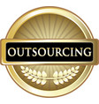 outsourcing gold label vector image vector image