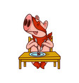 pig superhero sitting behind table with fork and vector image vector image
