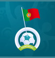 portugal flag pinned to a soccer ball european vector image vector image