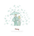 rich couple with umbrella successful vector image