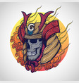 samurai warrior skull tattoo design vector image vector image