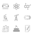 Science education icons set outline style vector image vector image