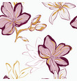 seamless pink green yellow floral pattern tender vector image