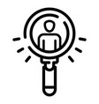 search man under magnify glass icon outline style vector image vector image