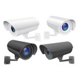 security camera set white and black cctv vector image vector image