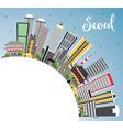 seoul korea skyline with color buildings blue sky vector image vector image