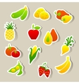 Set of fruit and vegetables stickers vector | Price: 1 Credit (USD $1)
