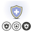 shield icon with medical cross vector image vector image