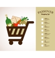 shopping cart filled in with traditional food for vector image vector image