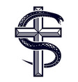 snake wraps around christian cross the struggle vector image vector image