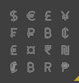 thin linear world currency symbols icons set vector image vector image