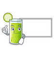 Thumbs up with board character fresh juice of