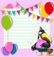 toucan on paty note template vector image vector image