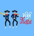 viva la fiesta hand drawn lettering cartoon dead vector image vector image