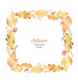 watercolor square frame of leaves and vector image vector image