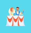 wedding celebration in restaurant bride and groom vector image