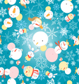 winter pattern with snowmen vector image vector image