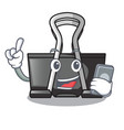 with phone binder clip in the character shape vector image vector image
