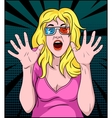 Woman Screaming In 3-D Movie vector image