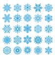 25 snowflakes set vector image