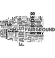 a brief history of the fairground industry text vector image vector image