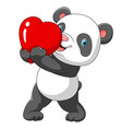 a cute panda with a red heart vector image