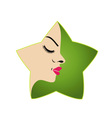 A ladys face in a green flower logo for parlor vector image vector image