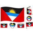 antigua and barbuda flag wave book circle pin vector image vector image