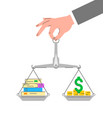 balance scales with stack books and money vector image vector image