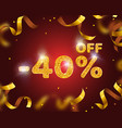 banner 40 off with share discount percentage gold vector image vector image