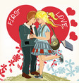 beautiful valentines day card with couple vector image vector image