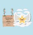 birthday invitation card with label wooden hanging vector image