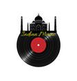 black vinyl disk record with taj maha vector image vector image