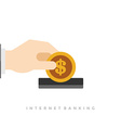 Business man hand holding money coin and dollar vector image