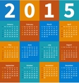 Calendar 2015 year in flat color vector image