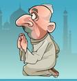 cartoon muslim man praying while sitting on his vector image