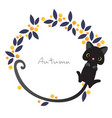 cat long tail with halloween berry plant wreath vector image