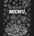 chalkboard fresh food menu template cover vector image