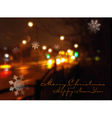 Christmas background with night city and flying sn vector image vector image